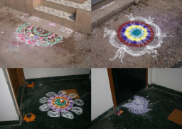 <div>Obrázky z barevného písku se jmenují rangoli a najdete je během Diwali přede dveřmi domů a obchodů, ale i jen tak na ulici.</div>
