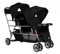 Big Caboose Stand-On Tandem Triple Stroller Black