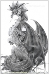 "Tranquility Over Deep Waters,"" Water Dragon, Graphite Pencil Drawing,  © Sandra  Staple"
